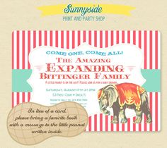 Vintage Circus Baby Shower Invitation   The by sunnysideprintparty, $14.00
