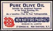 Vintage label PURE OLIVE OIL New Hartford Pharmacy New York new old stock nrmt+