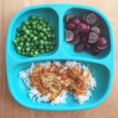 """""""Easy peas-y lunch: organic frozen peas; steamed and tossed in coconut oil, organic red grapes, organic basmati rice with Amy's golden dal over the top.…"""""""