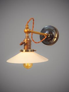 Vintage Industrial Wall Sconce - Pharmacy Lamp - Lamp with Glass Shade - Industrial Lighting - Steampunk - Art Deco Victorian