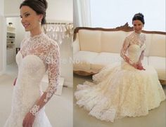 2015 new arrival sexy sheer a line Wedding dress court train Pleated flower alencon lace flower flower tulle Vestidos Applique