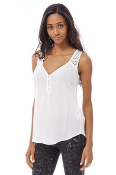 Cream Sleeveless Lace Detail Top