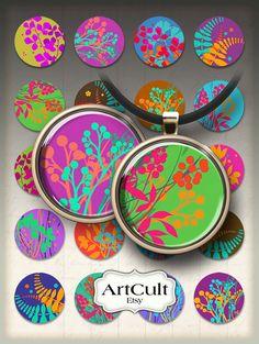 Les cercles FLORAL lumineux - imprimable Téléchargez 1inch/25 ou 1,5 pouces cercle images, feuille de Collage numérique pour les créations en papier aimants pendentifs