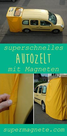 Use magnets to ✓ easily and ✓ quickly attach a tent to a car. ➔ Find out here how a tent on a car works. Auto Camping, Minivan Camping, Pickup Camping, Car Camper, Mini Camper, Camper Life, Camper Van Shower, Astuces Camping-car, Berlingo Camper