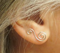 """Silver Earrings, 3/4"""" Curly Ear Climbers, Ear Sweeps, Simple Earrings, Elegant Gift for Her These are so cute!!"""
