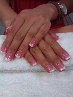 Trendy nails pink and white acrylic girly White French Nails, Pink French Manicure, French Tip Acrylic Nails, White Tip Nails, White Acrylic Nails, Pink Nails, French Manicures, Sparkly Nails, Cute Nails