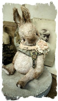 """~~~~ An Old Pale Pink Chubby Bunny ~~~~  One of a Kind""""B is for Bunny- Old Pale Pink Chubby Bunny Rabbit handmade by Wendy Meagher of Whendi's Bears - An Original ONE OF A KIND DESIGN  **Approx. 9"""" Tall (10"""" to tip of ears) - Antique Style Old Pale Pink color Rabbit, ruff collar from vintage gray ticking textile"""