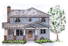 Elevation of Country Craftsman Traditional House Plan 56515 Family House Plans, Small House Plans, Garage Plans, Shed Plans, Car Garage, Craftsman House Plans, Sims House, Cottage Homes, Cozy House