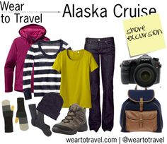 Alaska Cruise Shore Excursion: What to wear and pack for an Alaska Cruise shore excursion. Light layers (t-shirt, sweater, waterproof jacket), jeans, hat, gloves, wool socks, hiking boots, canvas backpack and, of course, your camera. By weartotravel on Polyvore
