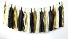 Glam Gold Tassel Garland - Black, Ivory, Gold Tissue Paper Tassel Garland - Party Decoration // Wedding Decor // New Year's Eve Party