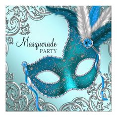 Sweet Sixteen Birthday Party Invitation Teal Blue and Silver Mask Masquerade Party Card