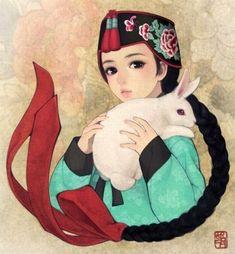 한복 Hanbok : Korean traditional clothes[dress] South Korean illustrator Obsidian…