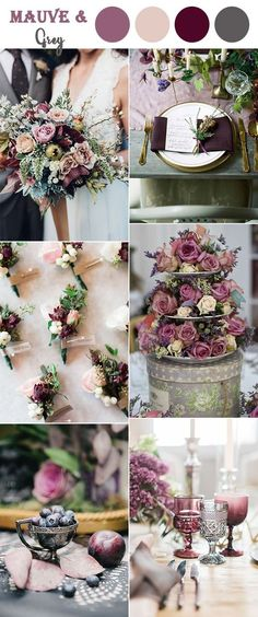 8 Perfect Fall Wedding Color Combos To Steal In 2017 : #1. Mauve, blush and warm grey vintage wedding