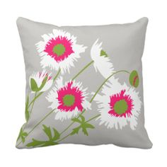 Graphic poppy white, pink, green and grey throw pillow now in new sizes and available in value polyester or A grade cotton. Original art and design by www.sarahtrett.com