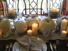 Table arrangement with white pumpkins - beautiful idea for an autumn wedding. Need help with any aspects of wedding planning and styling? visit www.rosetintmywedding.co.uk #wedding #weddingdecor #weddingtables #weddingstyling