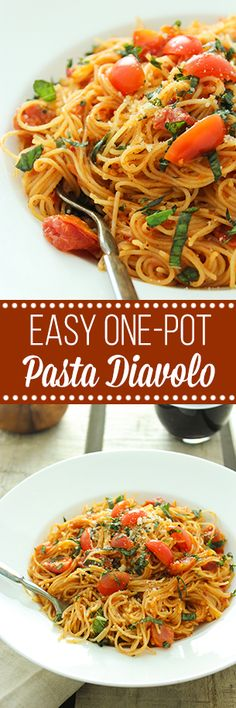 Super easy pasta dish with homemade sauce – all of it cooks in one pot, even the noodles! vegan tomato based sauce