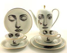 Regalo único juego de té, regalo de boda, juego de café para 2, tetera de porcelana Vintage tazas platos, arte alterado, arte de cara, taza de la cara, Lina Cavalieri