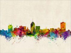 Fresno California Skyline Cityscape Art Print 1005 by artPause, £11.99