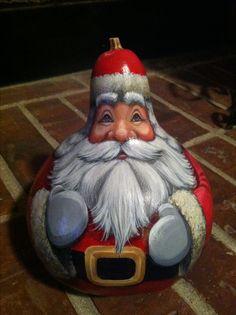 Gourd Santa Painted by D.E. Lent