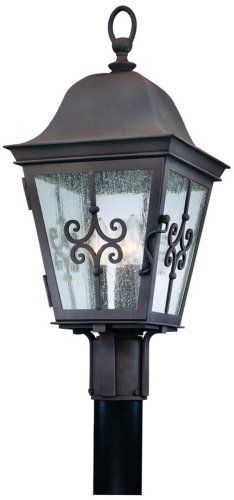 "Markham Collection 23"" High Outdoor Post Light by Troy. $490.91. Lights from the Markham Collection offer classic colonial grace and style. These sophisticated fixtures are beautifully crafted with hand-forged iron. This outdoor post light features a weathered bronze finish and clear seeded glass. Design by Troy Lighting.. Save 34%!"