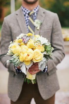 Yellow Pretty Fall Bouquet. See more on SMP: http://www.StyleMePretty.com/2014/03/03/fall-wedding-at-sycamore-farm-bloomington/ Todd Pellowe Photography