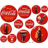 Coca-Cola button decals are perfect for decorating kitchen walls and cabinets with nostalgic style. Peel-and-stick decals with the Coca-Cola disc logo look great when grouped together on a wall. Made in USA. Officially licensed reproduction. #retroplanet #walldecals #walldecor #stickers