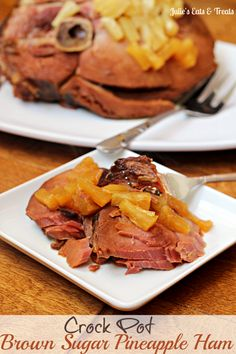 Crock Pot Brown Sugar Pineapple Ham ~ Savory ham with a brown sugar glaze and pineapple! via www.julieseatsandtreats.com