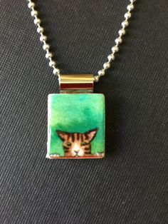 Cat scrabble pendant, handmade kitty scrabble jewelry, kitty cat necklace, recycled scrabble tile pendant, cat lover's gift, tiger cat by InSmallPackages on Etsy