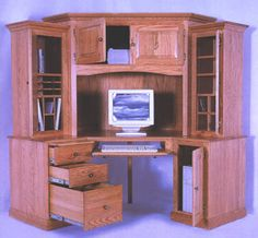 amish outlet store corner computer desk in oak
