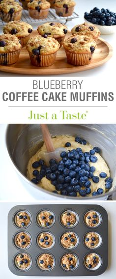 Blueberry Coffee Cake Muffins with Streusel recipe via justataste.com