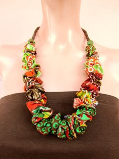 Chunky necklace Africa, fabric necklace, recycled glass beads, ethnic jewelry, Eco-Friendly, statement necklace, Bohemian necklace