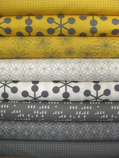 Moda, Comma Zen Chic, Mustard and Slate in FAT QUARTERS, 8 Total - great colours together