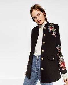 ZARA - TRF - FLORAL MILITARY-STYLE COAT