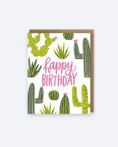 Happy Birthday Cactus Card by alexazdesign on Etsy