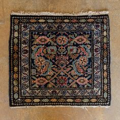 """Antique Farahan Plateau. Charming Bagface with peacocks in perfect condition. Highly saturated dyes. width: 1'6"""" length: 1'8"""" size category: 3'x5' and smaller dominant color: Blue"""
