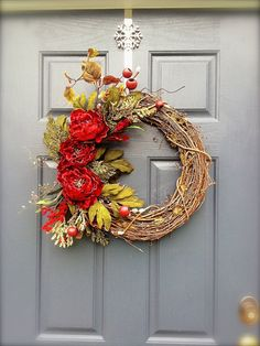 Your place to buy and sell all things handmade Wreath Crafts, Diy Crafts, Front Door Decor, Front Doors, Red Peonies, Valentines Design, Christmas Time, Christmas Ideas, Winter Holidays
