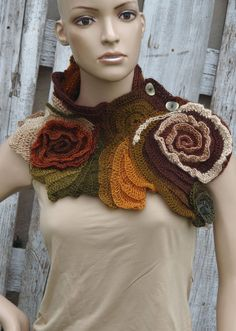Unique Crochet scarf Scarf Capelet / Neck Warmer by Degra2