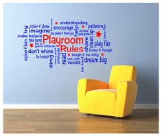 Playroom Rules 30 x 15 Vinyl Wall Decal  2 COLOR by VinylExposure, $39.99