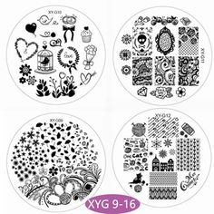New Nail Stamping Plates 7cm Round Leaf Heart Diamond Lip Patterns Plastic Stamp Template Manicure Stencil Purple Plate 2017 Diy