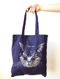 0b6c85833e Cat Tote bag Silver Cat Black Tote bag Screen printed metallic glitter ink,  Awesome gift for Kitty L