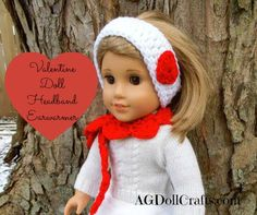 Free #Crochet Pattern for a Valentine's Day Headband Earwarmer for 18 inch dolls via AGDollCrafts.com #AmericanGirlDolls