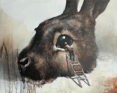 Artist Samuli Heimonen Creates Striking Paintings With Hidden Animal Rights Messages Art And Illustration, Illustrations, Lapin Art, 7 Arts, Rabbit Art, Bunny Rabbit, Surrealism Painting, Fairytale Art, Art Design