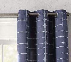 Saki Shibori Print Blackout Grommet Curtain Panel - Sun Zero Grommet Curtains, Panel Curtains, Shibori, Zero, Sun, Shower, Prints, Rain Shower Heads, Curtain Panels