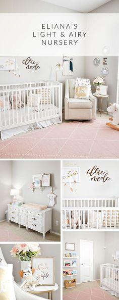 Eliana's Light and Airy Nursery Tour, Blush and Gold Nursery, Boho Nursery, Baby Girl Nursery Design