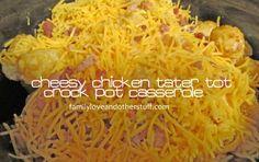 Cheesy Chicken Tater Tot Crock Pot Casserole