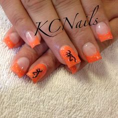 Orange acrylic nails with browning decal KCNails