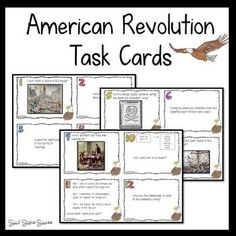 Review for a test with American Revolution Task Cards. There are 32 question cards that are a combination of recall, primary source quotes, maps and images. Challenge your students at a variety of levels! Differentiate by giving certain cards to your students. A blank template is included at the end if you wish to include more questions. The Answer Sheet has space for up to 40 questions. I recommend that you laminate the cards so that you can use them year after year.
