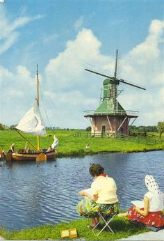 Friesland (West Frisian: Fryslân, Dutch: Friesland), a province in the north of the Netherlands. Netherlands Windmills, Holland Windmills, Old Windmills, Holland Netherlands, Amsterdam, Places To Travel, Places To See, Dutch Artists, Le Moulin
