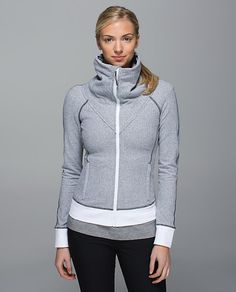 Lululemon Be Present Jacket --size 4 in heathered herringbone - makes a very nice layer when traveling in the snow.