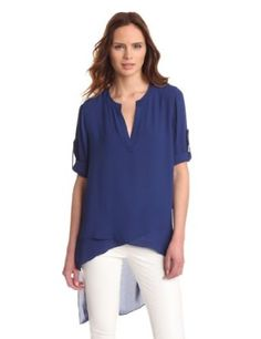 BCBGMAXAZRIA Women's Mazie Woven Sportswear Top, Blue Depth, Medium BCBGMAXAZRIA. $178.00